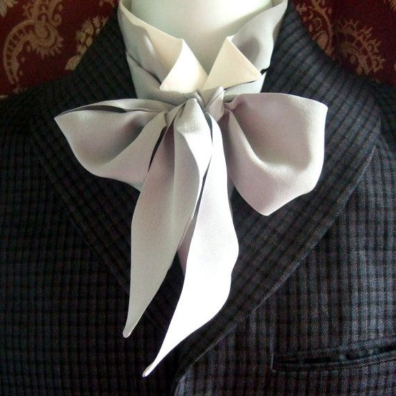 Victorian Bow Tie Cravat Ascot inTitanium Silver by madebypeggy
