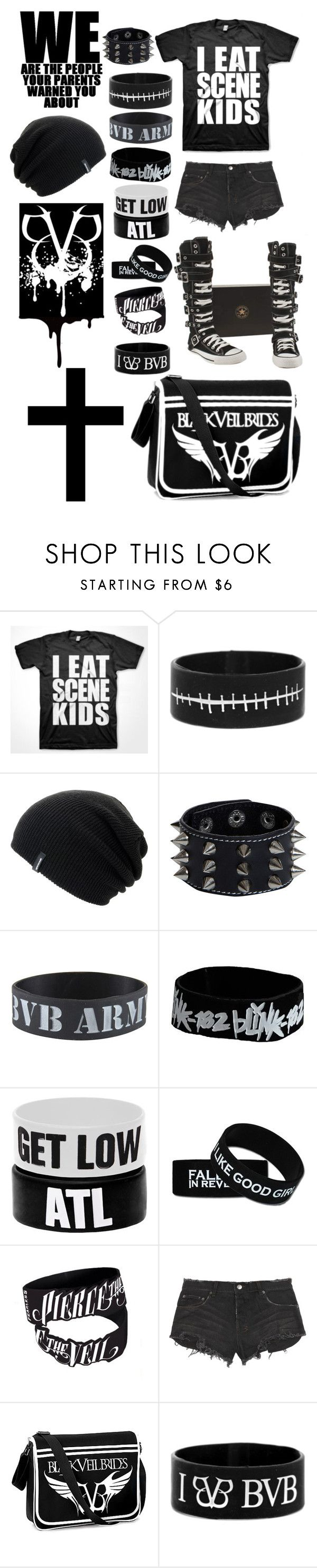 """I eated all de scene kids :3"" by trashpunk ❤ liked on Polyvore featuring Converse, Spacecraft, Boohoo, Blink and Ksubi"