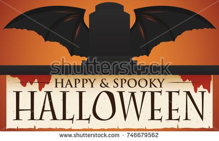 Banner with sunset view and silhouettes of a tombstone with bat wings and bloody ragged scroll for a happy and spooky Halloween celebration.