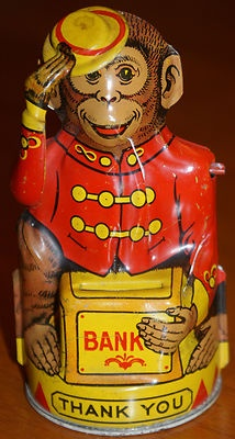 Vintage 1930 J Chein Co Metal Tin Monkey Chimp Coin Bank Tips Hat Made in USA