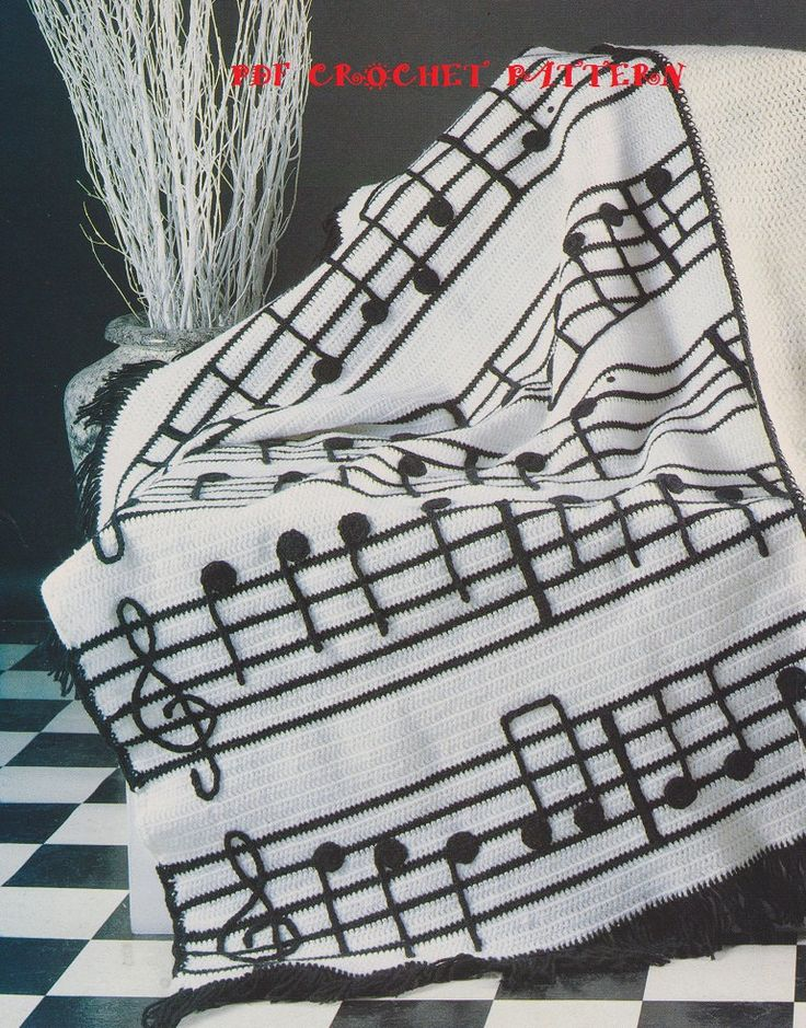 Crochet Musical Notes Afghan Pattern KC0447 by KatnaboxCollection