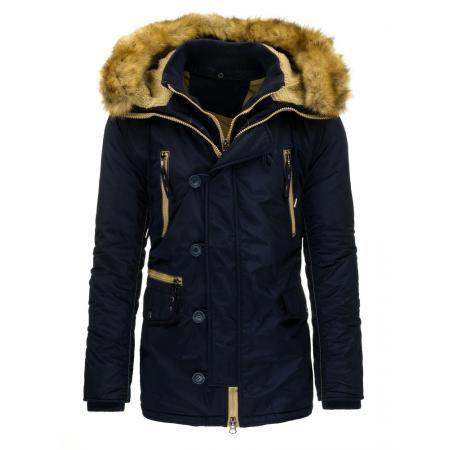 Pánská stylová zimní bunda (parka) modrá