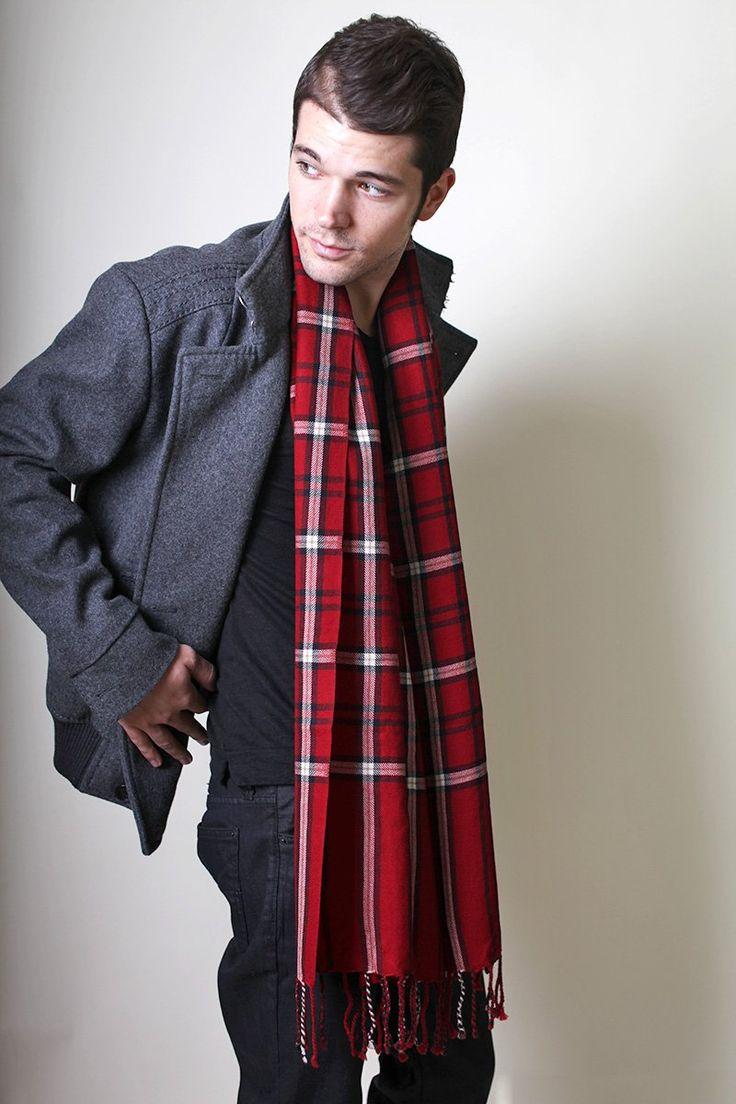 Men 39 S Red Bold Check Plaid Super Soft Wool Scarf Anika