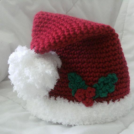 Santa Baby Red Crochet Santa Hat with White by StitchBuyStitch