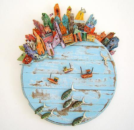 Round Sea Port, mixed media, Courcoux & Courcoux - Tony Britnell
