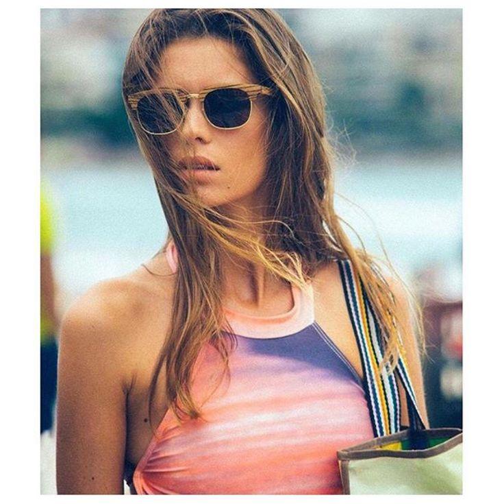 Retro feels ~ @pauline_serreau wearing the Hoppa shades  |  Stolen from @bondibather  Captured by @will_rivers ✌ #topheads #eyewear #bondibather #swimwear #aussie #retro #feels #summer #beach #babe #wood #shades #bondi #design #sunglasses #sydney #australia