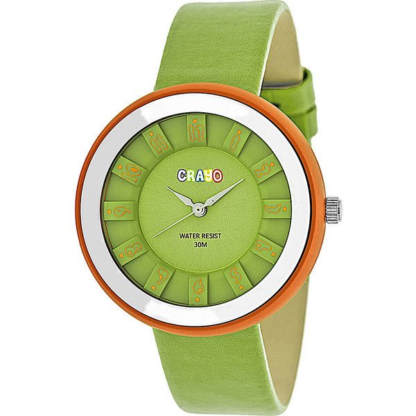 Crayo Celebration Strap Watch - Green - Women's Watches (£35) ❤ liked on Polyvore featuring jewelry, watches, green, green jewelry, quartz movement watches, crayo watches, green watches and bezel watches