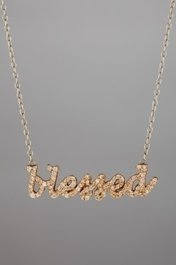 """Diamond Blessed Necklace. This 14K gold and diamond necklace is timeless, ageless and can be worn for any occasion. Details: """"blessed"""" measures 1.5 inches soldered to a 1mm chain Diamond weight equals .5 carats."""