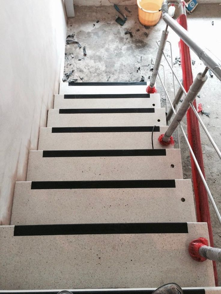 Terrazzo stairs after restoration and diamond polishing