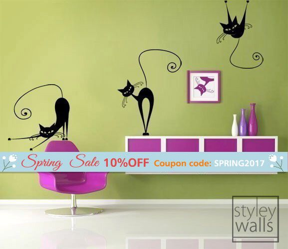 Cats Wall Decal, Set of 3 Naughty Cats Vinyl Wall Decal, Home Decor Wall Decal, Office Wall Decal, Cats Sticker, Cats Decoration Decal by styleywalls on Etsy https://www.etsy.com/listing/57222025/cats-wall-decal-set-of-3-naughty-cats