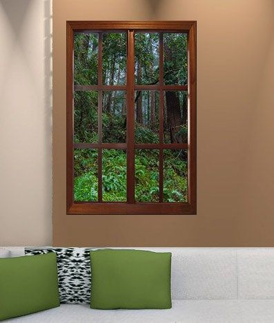 This self-adhesive wall mural looks like a window to make it appear as though your basement is surrounded by lush greenery.