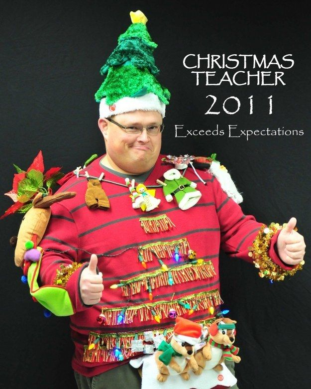 This teacher who gave himself a grade for his ugly holiday sweater.   Community Post: 21 Teachers Who Nailed The Holidays