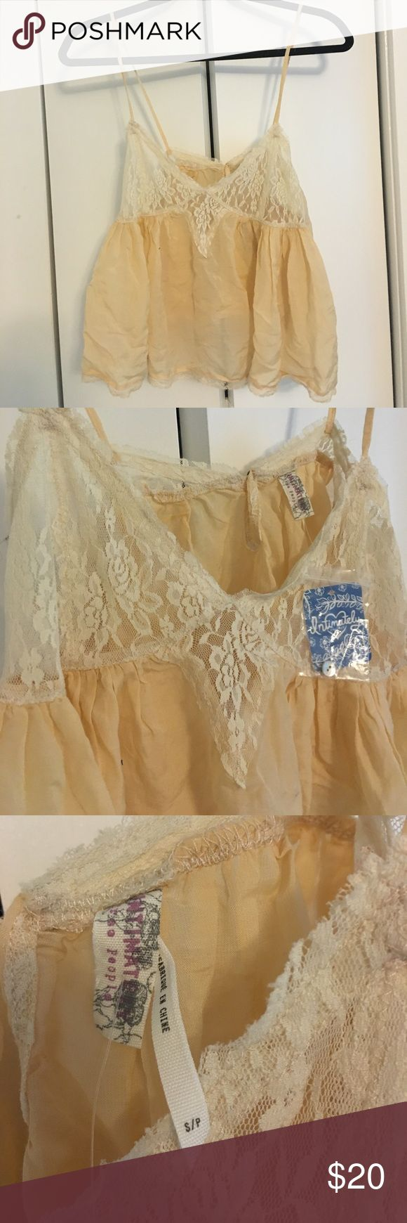 FP intimates sheer cropped tank NWT Sheer, light peach color with cream lace, really soft Free People Intimates & Sleepwear Bras