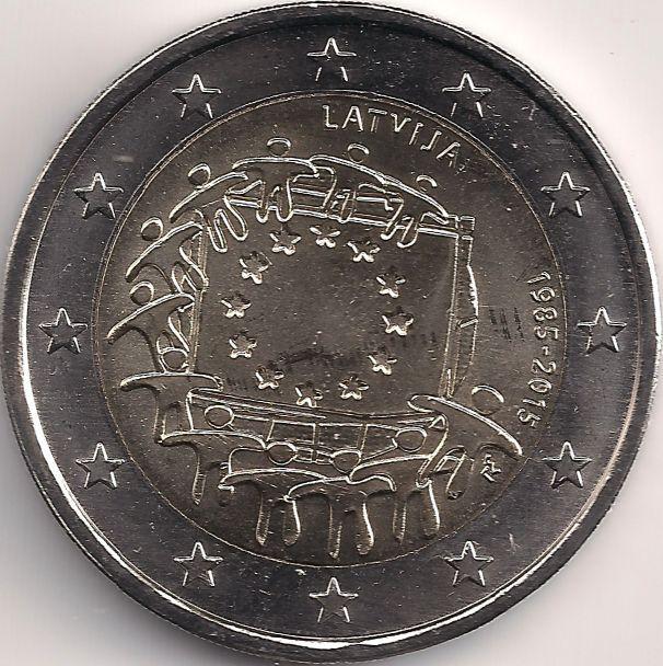H 1.78mm, B 50.28mm Motivseite: Münze-Europa-Mitteleuropa-Lettland-Euro-2.00-2015-EU-Flagge