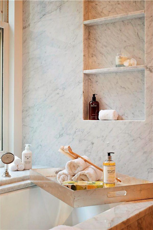 marble slab wall w shelf niche - not sure I want marble but like the idea of shelf niche in shower