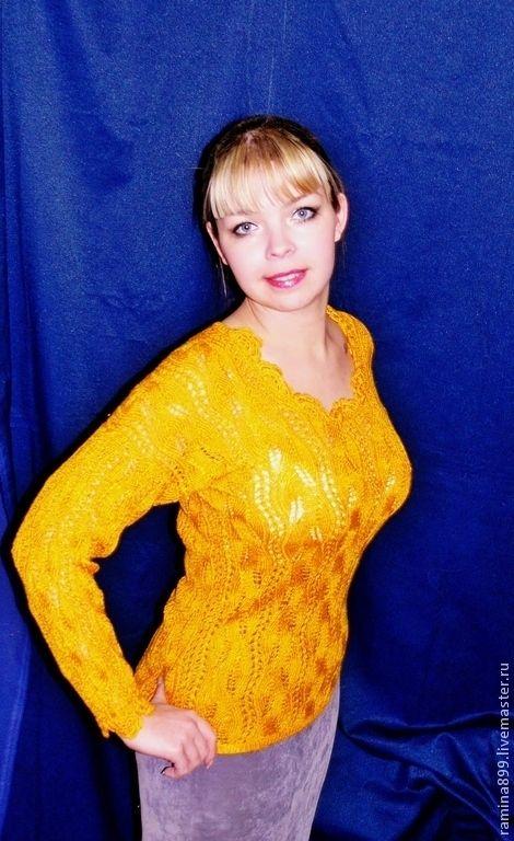 Купить Кофта вязаная спицами для женщин Магический жёлтый вискоза шерсть - жёлтый, абстрактный