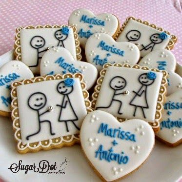 Sugar Dot Cookies: Stick Figure Engagement Couple Sugar Cookies