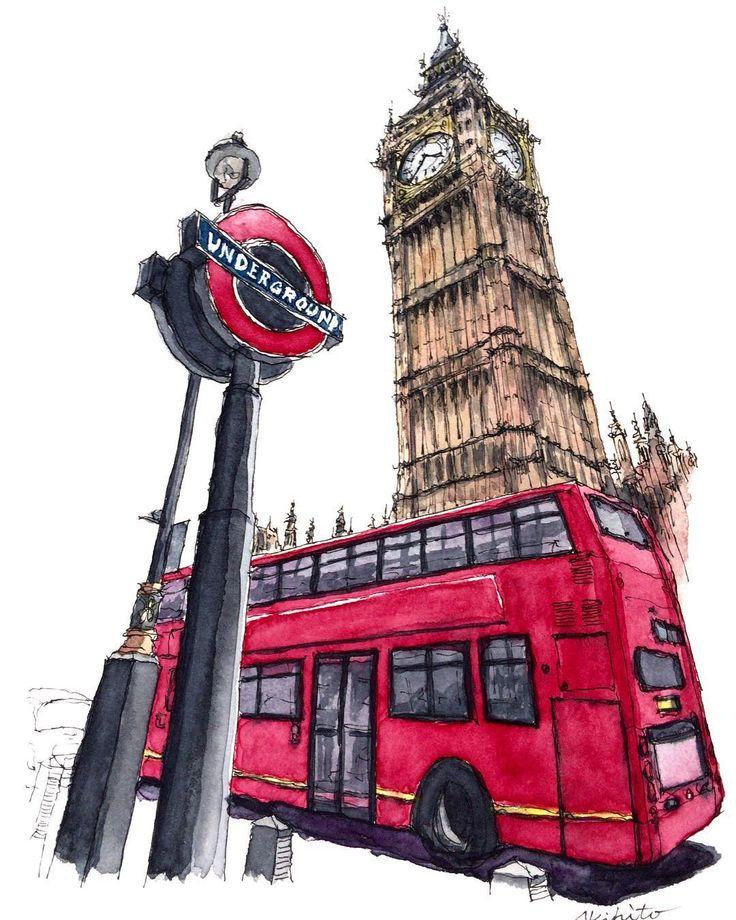 Картинка лондонского автобуса нарисованная