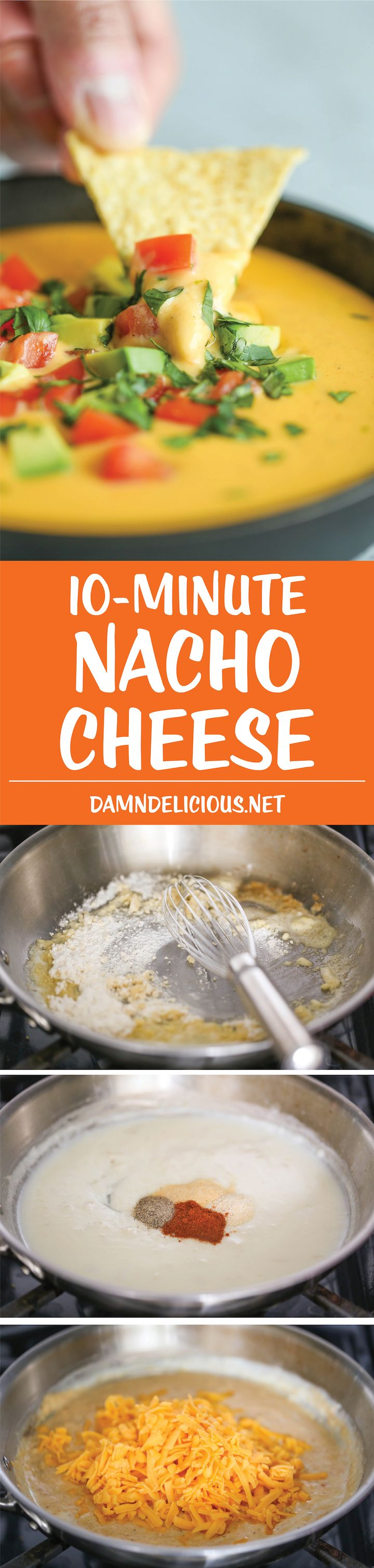 10 Minute Nacho Cheese - Super easy and completely made from scratch (no Velveeta)! It's cheesy, sharp, smoky, unbelievably velvety and just SO GOOD!