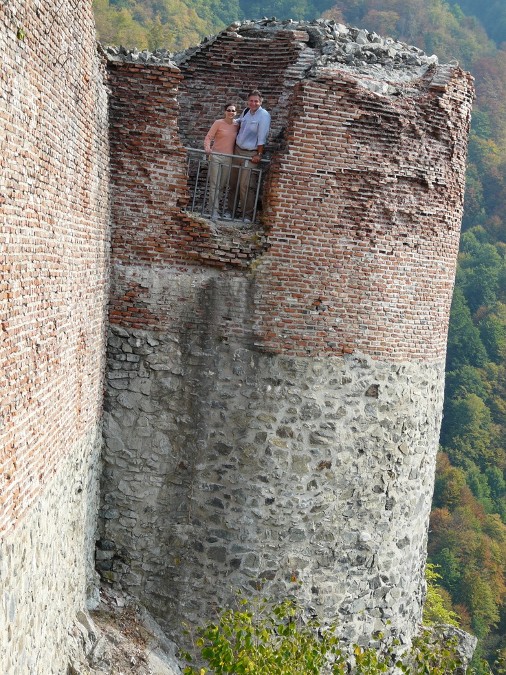 Me and my hubby at the top of Poenari Fortress.  And yes, we really did have to climb 1480 steps to reach the fortress.  And no, it was NOT a fun climb.