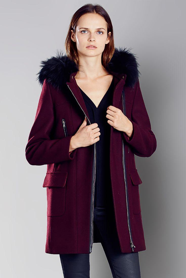 manteau 3 4 drap de laine bordeaux capuche fourrure gerson need pinterest bordeaux. Black Bedroom Furniture Sets. Home Design Ideas
