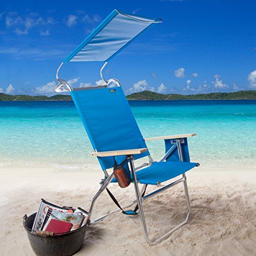 Beach Chair With Canopy Copa 4 Position Big Tycoon Features Extra Wide PVC Seat Wooden Armrests Aluminum Framed And FREE Bag Pacific Blue