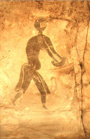 Rock painting from the Tasili-n-ajjer region of the central Sahara: image from the Hunter phase.