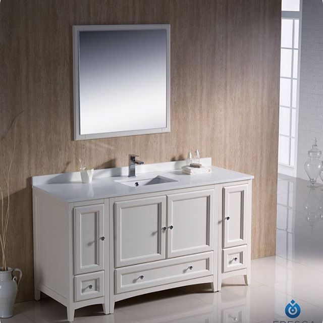 fresca oxford single traditional bathroom vanity set with mirror base finish antique white