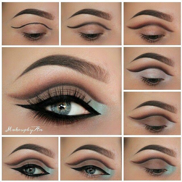 Cut crease art eye makeup in brown and blue hues #tutorial #maquiagem #evatornadoblog Макияж с выделенной складкой века в коричневых и голубых оттенках - урок