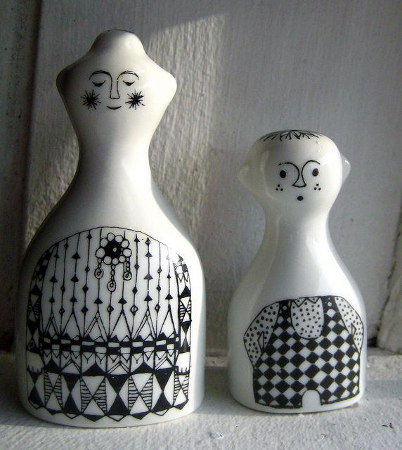 """Emilia"" from Arabia of Finland salt & pepper"