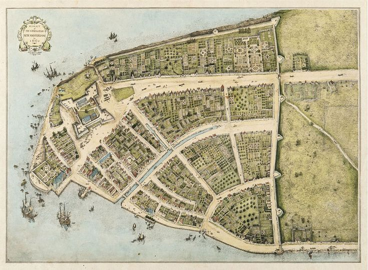 The earliest known map of New Amsterdam (NYC) and the only one dating from the Dutch period. The barricaded street with the giant wall is, Wall Street!