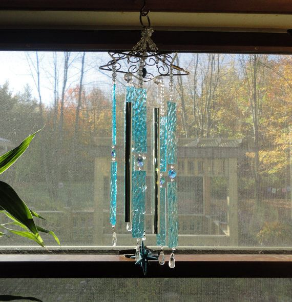Stained Glass Sculpture Wind Chime Mobile by JewelsInTheGarden