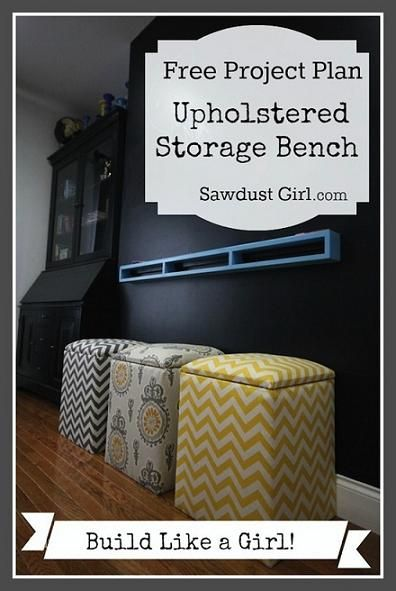 #DIY upholstered #storage #bench. Learn to make them #FREE. It's cute for #kids room to store toys or stuffed animals! #chevron #babysdream