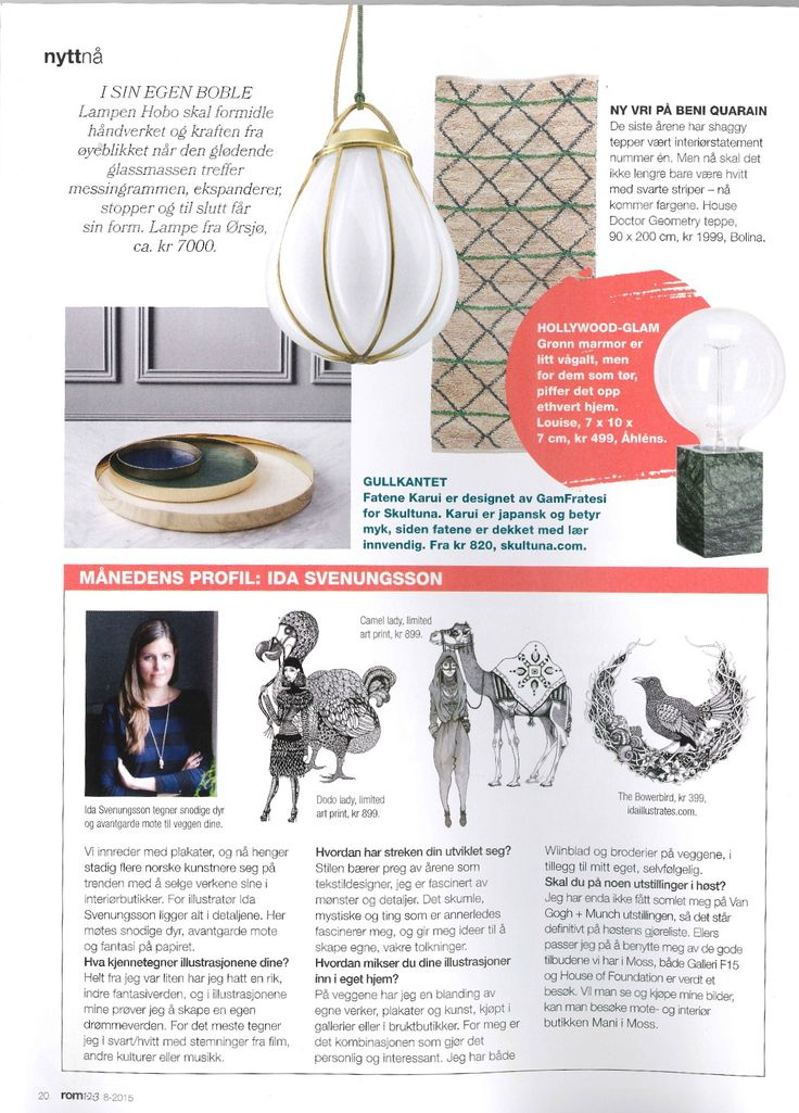 Ida Svenungsson featured in interior magazine, Rom123