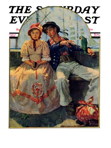 """Yarn Spinner"" Saturday Evening Post Cover, November 8,1930 Giclee Print by Norman Rockwell at Art.com"