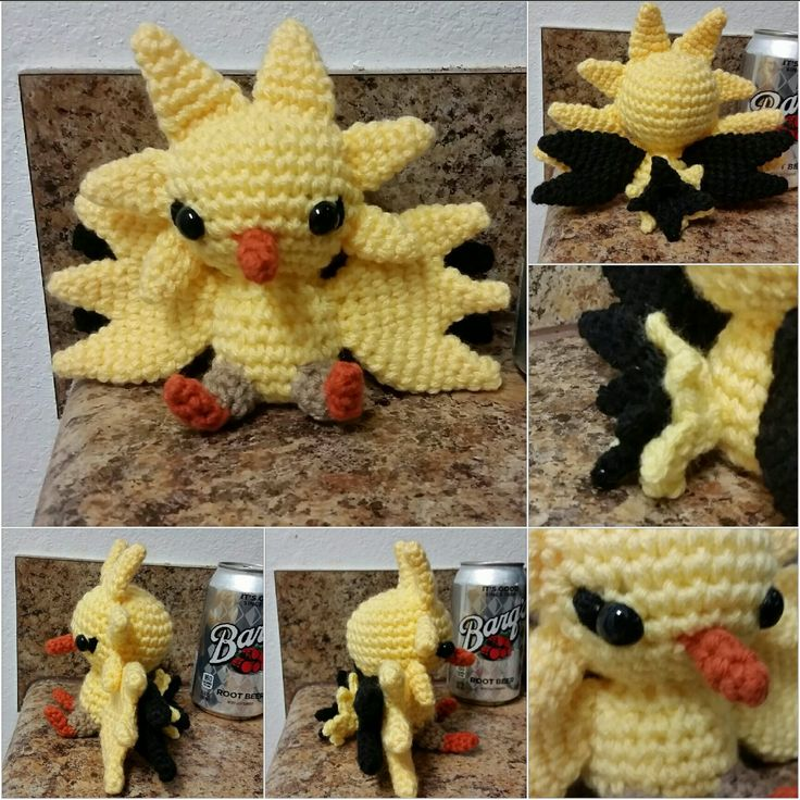 """sakumomakesstuff: """"Pokemon Go has taken over, and everyone's outside trying to catch 'em all! Unfortunately, the servers have been less than reliable, so in the downtime, I decided to represent my team (☇Team Instinct! ☇) with a Zapdos..."""