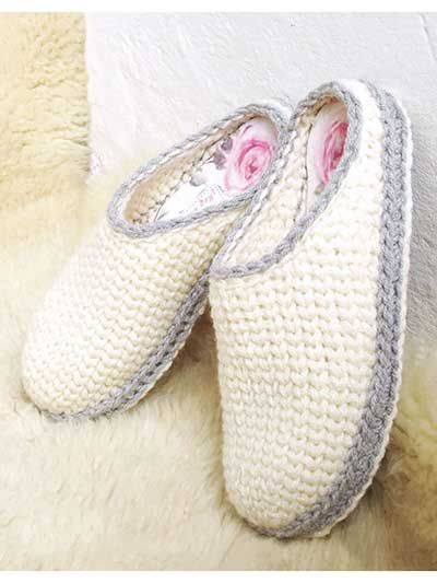 The knit-look stitch gives a classic touch to this simple design made using a #5 chunky yarn or 2 stands of #4 worsted-weight yarn. These slippers are worked from toe-up, in one piece. The toe piece is worked in the round and the sole is worked back ...