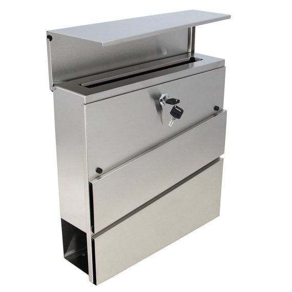 MPB932 The New Style Vertical Lockable Mailboxes Brushed Stainless Steel With Newspaper Holder Modern Urban Style - QUALITY IS TOP