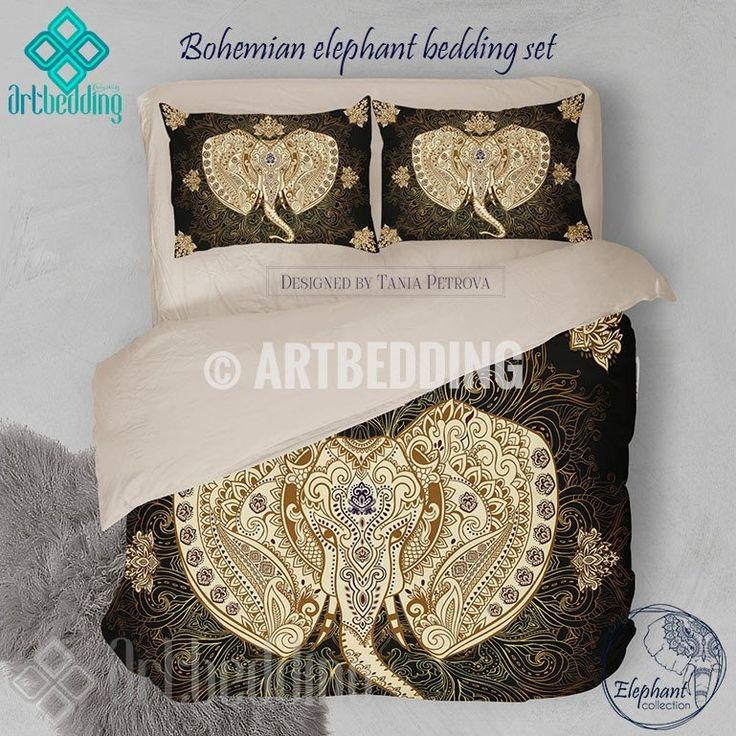 Ganesh head Elephant bedding, Bohemian ethno elephant duvet bedding set, Black 7 gold bohemian vintage bedding, Bohemian bedroom decor