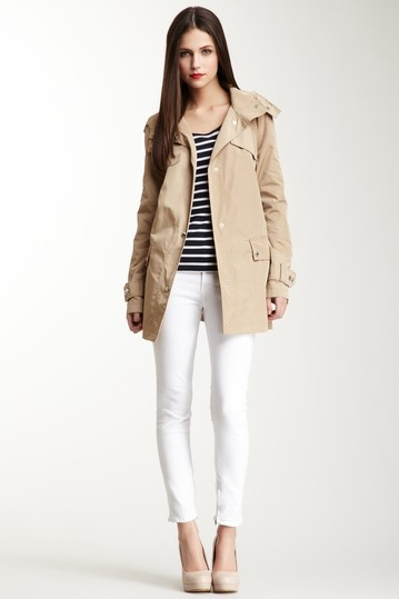 Single Breasted Trench Coat, stripe top, white pants, nude heels.