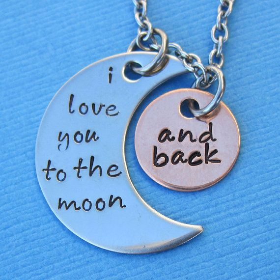 """Last week I made several of these """"I Love You to the Moon and Back"""" necklaces for customers ordering Mother's Day gifts. Now I'm making several of them as key chains for customers ordering for Father's Day gifts. Made of all stainless steel and one copper disc."""