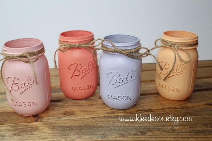 Spring hand painted Mason jars at k.leedecor on Etsy!
