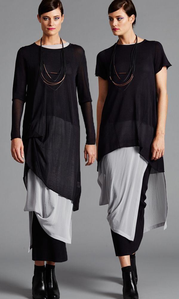 LUXURIOUS VISCOSE KNITS in dark charcoal are featured in three different length tops - the crop which is a great arm cover over sleeveless, the swing tee for elegant ease and the tuck tunic for sophisticated line. add the matching viscose knit skirt or narrow stretch pant in colour soot or black to complete a stunning look.