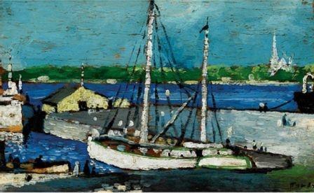 "FORTIN, Marc-Aurèle, LONGUEUIL VU DE MONTREAL, Oil on panel, signed (indistinctly) Size 5 1/2"" x 9""; 13.8 cm x 22.5 cm"