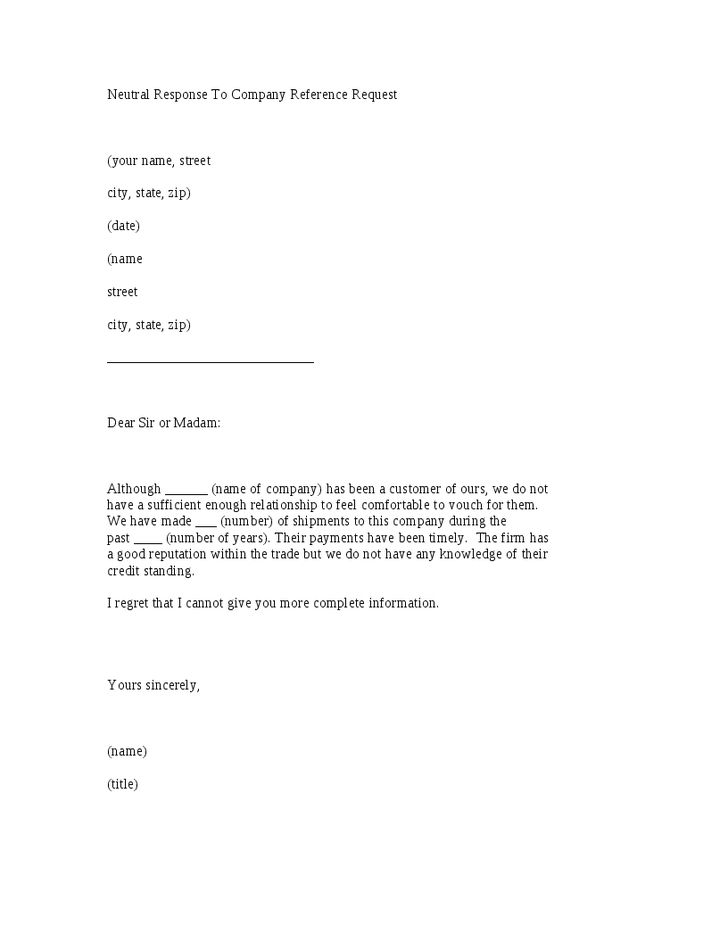 response company reference request letter template hashdoc sample