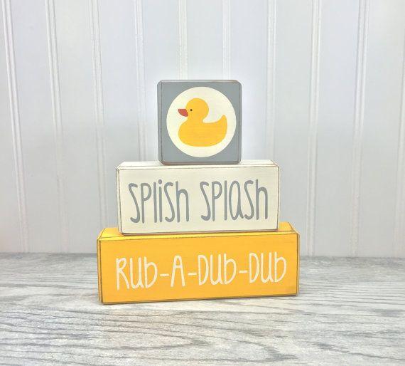 yellow rubber duck bathroom custom wood block by AppleJackDesign