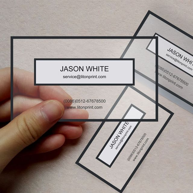 Custom Clear PVC Business Cards Transparent PVC Right Angle Cut Plastic Business  Card (