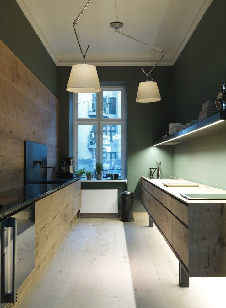 Dinesen wood kitchen by Garde Hvalsoe in the Dinesen showroom in Sotorvet, Copenhagen | Remodelista