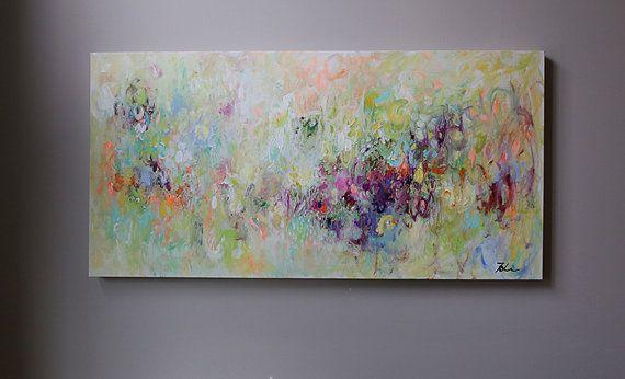 Resumen pintura, verde lima, puple, aqua blue, arte abstracto, multicolor, colorido, decoración, pintura moderna, arte de acrílico