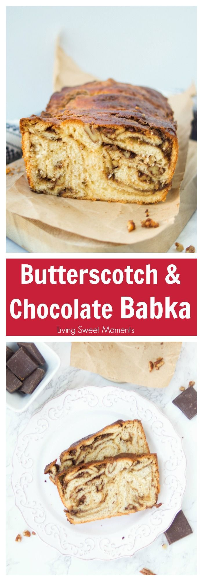 This moist butterscotch Chocolate Babka recipe is soft, delicious, and has a crunchy addition of pecans. Enjoy this babka for breakfast, brunch or dessert. More yummy recipes at livingsweetmoments.com